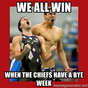 Ecstatic Michael Phelps - We all win When the chiefs have a bye week