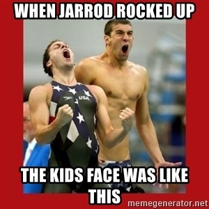 Ecstatic Michael Phelps - WHEN JARROD ROCKED UP THE KIDS FACE WAS LIKE THIS