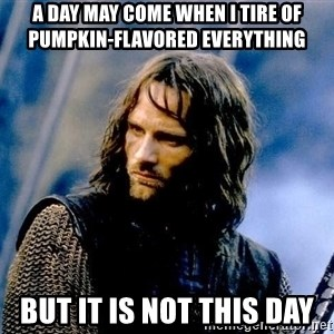Not this day Aragorn - a day may come when i tire of pumpkin-flavored everything but it is not this day