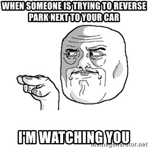 i'm watching you meme - when Someone is trying to reverse park next to your car I'm watching you