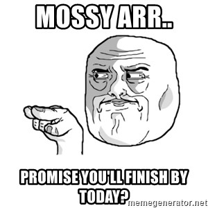 i'm watching you meme - mossy arr..  promise you'll finish by today?