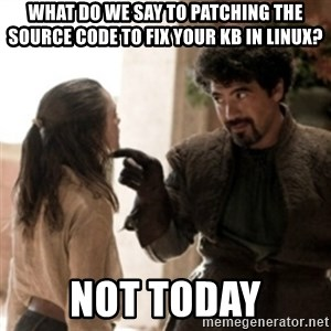 Not today arya - WHAT DO WE SAY TO PATCHING THE SOURCE CODE TO FIX YOUR kb IN LINUX? NOT TODAY