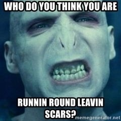 Angry Voldemort - who do you think you are runnin round leavin scars?