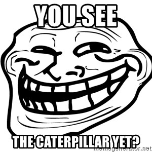 the real troll face  - YOU SEE THE CATERPILLAR YET?