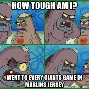 How tough are you - how tough am i? Went to every giants game in marlins jersey