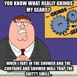 Grinds My Gears - You know what really grinds my gears?  When I fart in the shower and the curtains and shower wall trap the shitty smell..