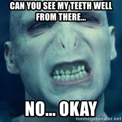 Angry Voldemort - CAN YOU SEE MY TEETH WELL FROM THERE... NO... OKAY