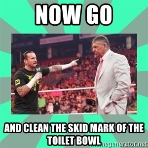 CM Punk Apologize! - NOW GO AND CLEAN THE SKID MARK OF THE TOILET BOWL