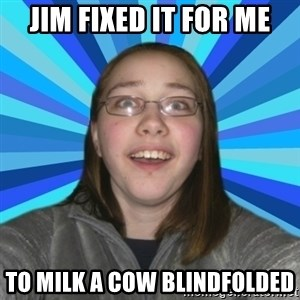 Innocent College Girl - JIM FIXED IT FOR ME TO MILK A COW BLINDFOLDED