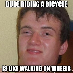 really high guy - Dude riding a bicycle is like walking on wheels