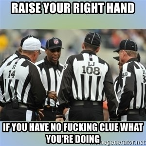 NFL Ref Meeting - RAISE YOUR RIGHT HAND IF YOU HAVE NO FUCKING CLUE WHAT YOU'RE DOING
