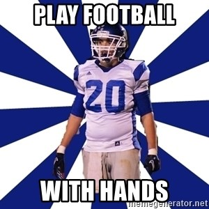 Highschool Football Kid - play football with hands