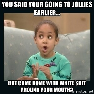 Raven Symone - You said Your going to jollies earlier... But come home wIth white shit around your mouth?