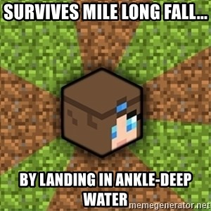 Minecraft Logic - Survives mile long fall... by landing in ankle-deep water