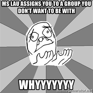 Whyyy??? - ms lau assigns you to a group you don't want to be with whyyyyyyy
