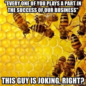 """Honeybees - """"EVERY ONE OF YOU PLAYS A PART IN THE SUCCESS OF OUR BUSINESS"""" this guy is joking, right?"""