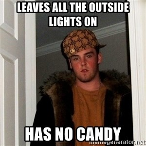 Scumbag Steve - leaves all the outside lights on has no candy