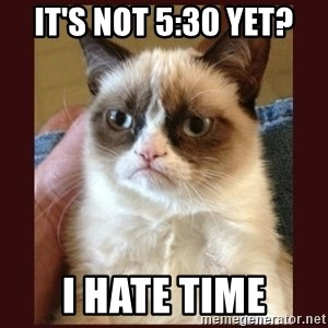 Tard the Grumpy Cat - It's not 5:30 Yet? I hate time