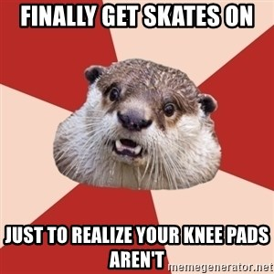 Fresh Meat Otter - finally get skates on just to realize your knee pads aren't