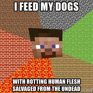 Minecraft Guy - I feed my dogs with rotting human flesh salvaged from the undead