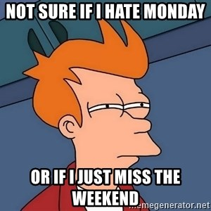 Futurama Fry - Not sure if I hate monday or if i just miss the weekend