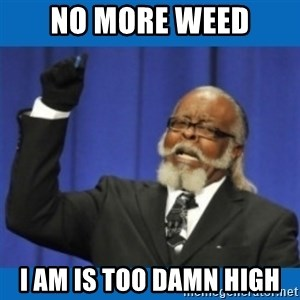 Too damn high - NO MORE WEED I AM IS TOO DAMN HIGH