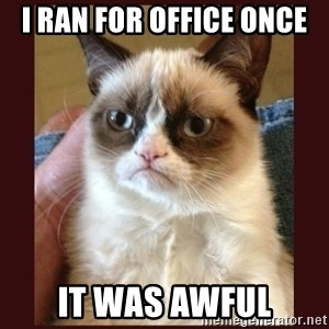Tard the Grumpy Cat - I RAN FOR OFFICE ONCE IT WAS AWFUL