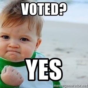fist pump baby - Voted? Yes