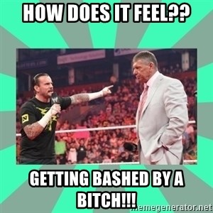 CM Punk Apologize! - HOW DOES IT FEEL?? GETTING BASHED BY A BITCH!!!