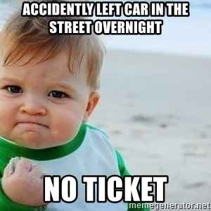 fist pump baby - accidently left car in the street overnight no ticket