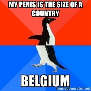 Socially Awesome Awkward Penguin - my penis is the size of a country belgium