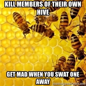 Honeybees - KILL MEMBERS OF THEIR OWN HIVE GET MAD WHEN YOU SWAT ONE AWAY