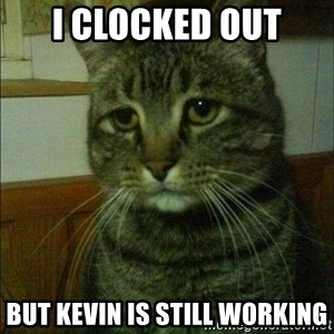 Depressed cat 2 - I clocked out but kevin is still working