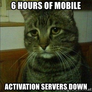 Depressed cat 2 - 6 hours of mobile activation servers down