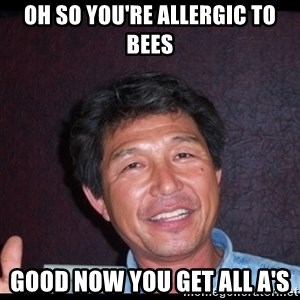 Asian dad knows best - Oh so you're allergic to bees good now you get all a's