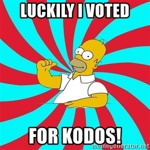 Frases Homero Simpson - LUCKILY I VOTED FOR KODOS!