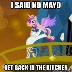 Shining Armor throwing Cadence - I SAID NO MAYO GET BACK IN THE KITCHEN