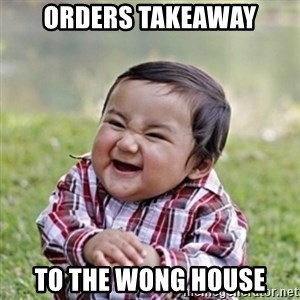 evil toddler kid2 - orders takeaway to the wong house