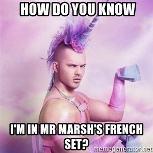 Unicorn man  -  How do You know  I'm in Mr MaRsh's French set?