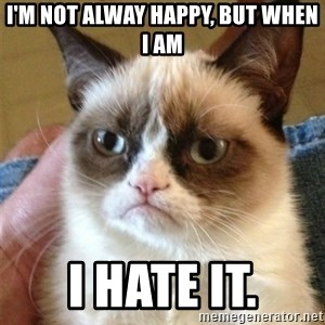 Grumpy Cat  - I'm not alway happy, but when I am i hate it.
