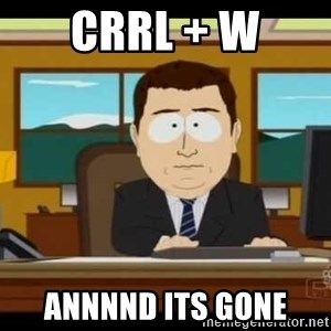 south park aand it's gone - crrl + w annnnd its gone