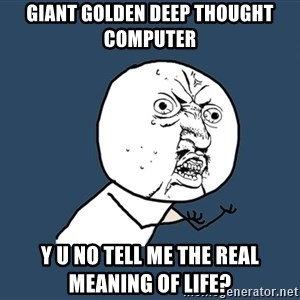 Y U No - giant golden deep thought computer y u no tell me the real meaning of life?