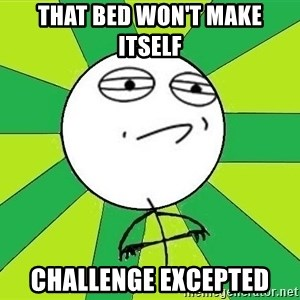 Challenge Accepted 2 - That bed won't make itself Challenge excepted