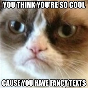 angry cat asshole - You think you're so cool Cause you have fancy texts