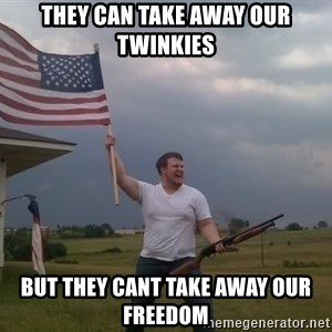 american flag shotgun guy - They can take away our twinkies But they cant take away our freedom