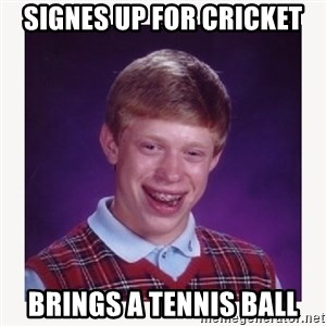 nerdy kid lolz - signes up for cricket brings a tennis ball
