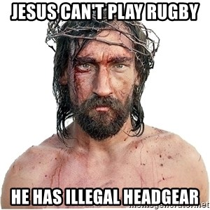 Masturbation Jesus - Jesus Can't play Rugby He has illegal headgear