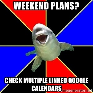 Polyamorous Porpoise - Weekend plans? Check multiple linked google calendars