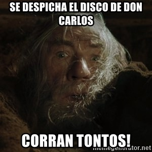 gandalf run you fools closeup - Se despicha el disco de don carlos Corran tontos!
