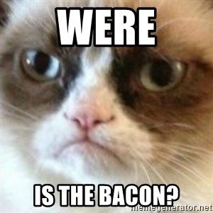 angry cat asshole - were is the bacon?
